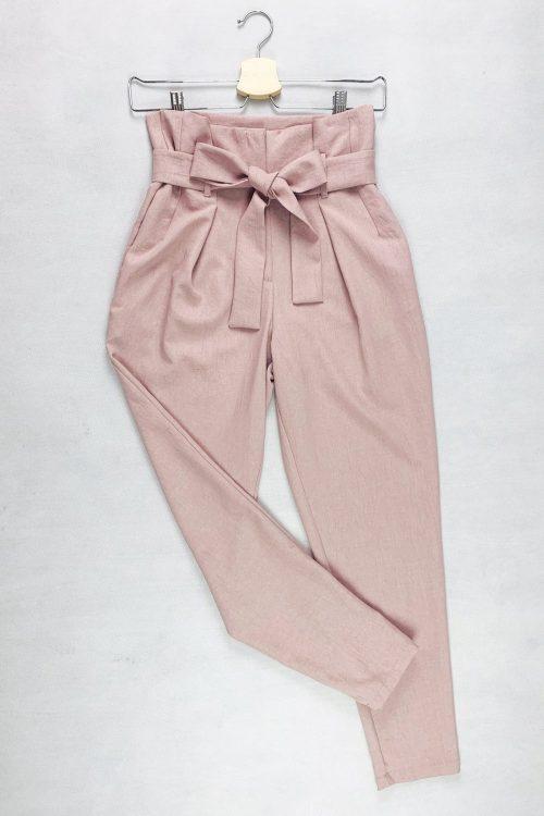 Spodnie różowe z wysokim stanem