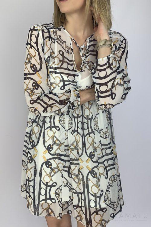 Sukienka biała z printem