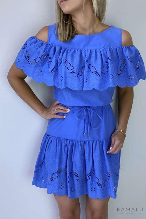 Sukienka cold shoulder- niebieska