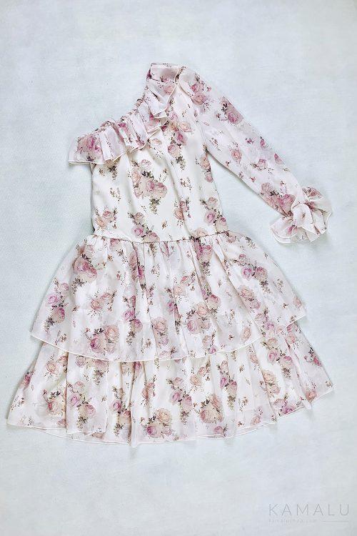 Sukienka na jedno ramię w różowe kwiaty