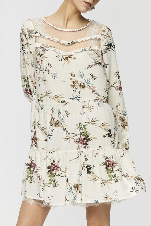 Sukienka w kwiaty beż