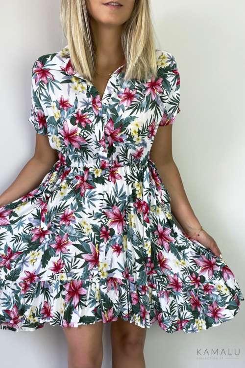 Sukienka w lilie- ekru