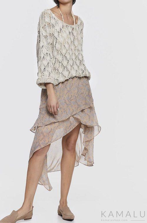 Zwiewna spódnica asymetryczna