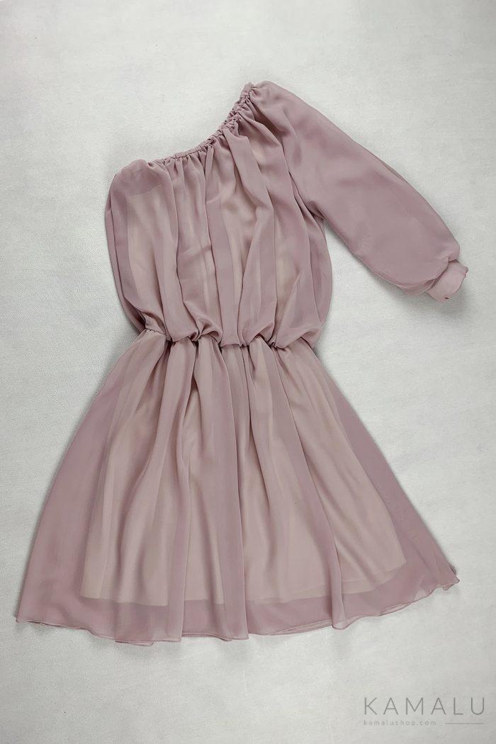 Sukienka na jedno ramię z rękawem