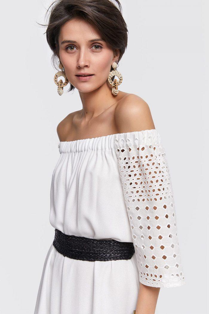 weißes Off-Shoulder Kleid in A-Linie mit 3/4-Ärmel