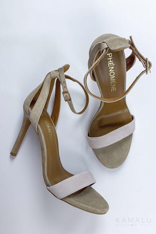 Sandałki skórzane na szpilce