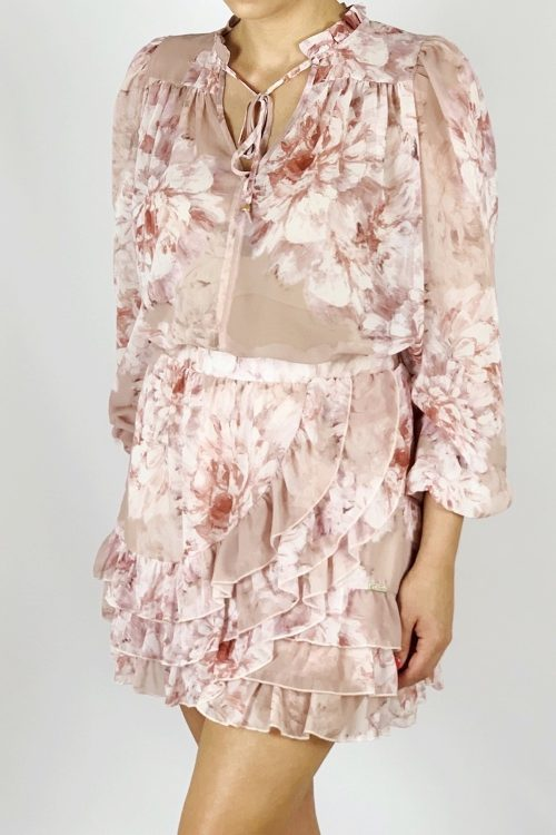 Komplet różowy spódnica z bluzką