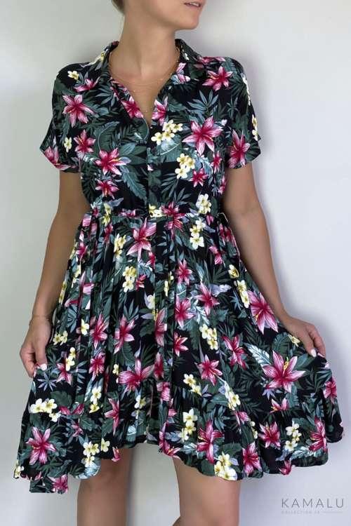 Sukienka w lilie- czarna