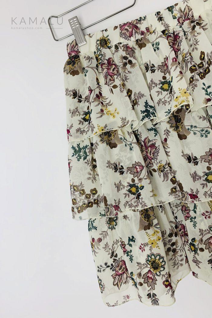 Spódnica beżowa z falbanami