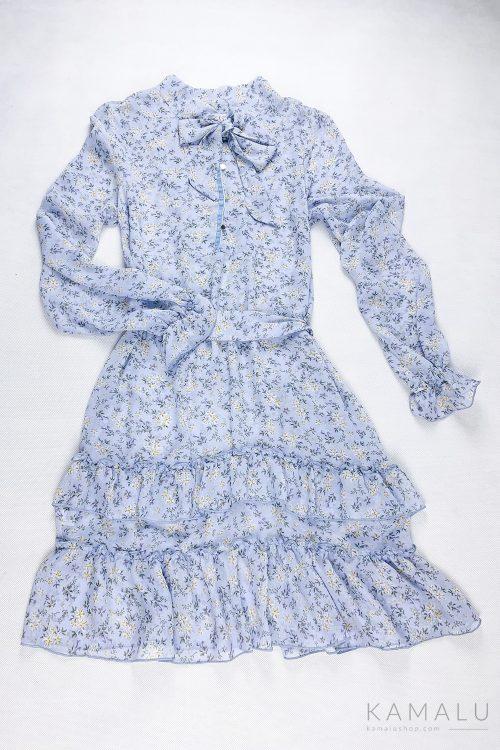 Hellblaues Kleid mit langen Ärmeln, Volants und Blumenmuster