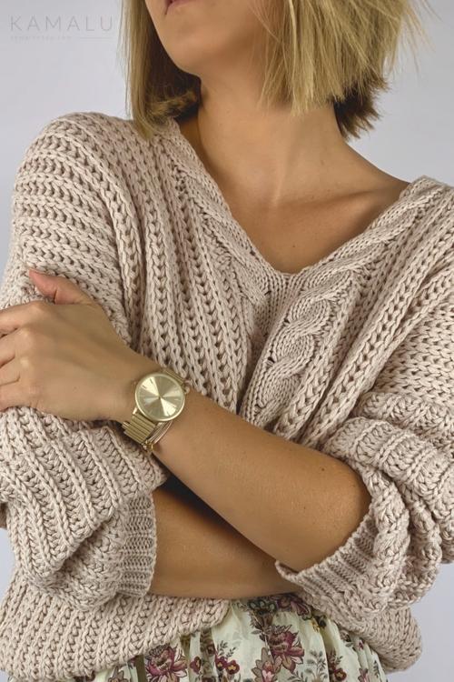 Sweter z grubym splotem pudrowy róż