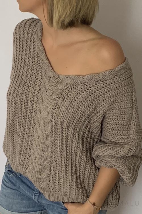 Sweter z grubym splotem cappuccino