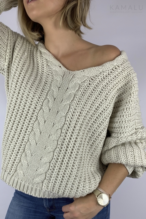 Sweter z grubym splotem beż