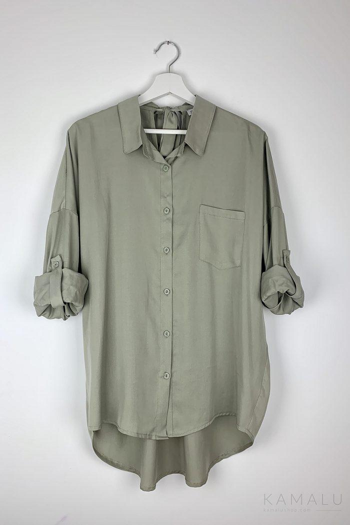 Oversize-Bluse mit Bindebändern im Nacken