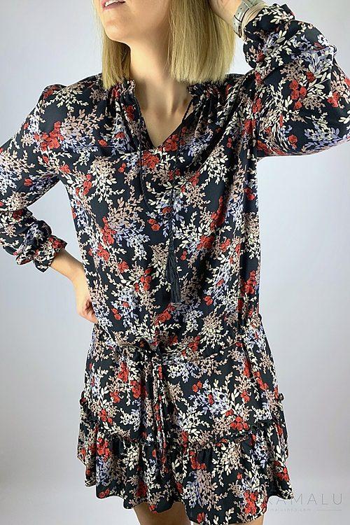 Kurzes Kleid mit orientalischem Blumenmuster
