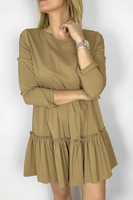 Sukienka trapezowa z falbaną camel