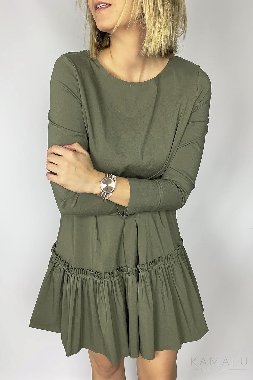 Sukienka z falbaną khaki