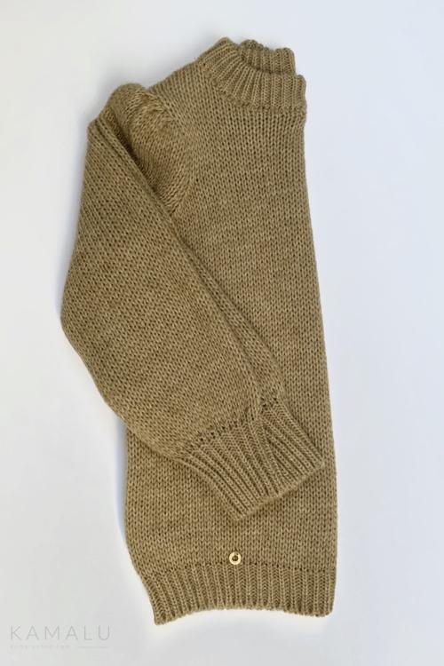 Sweter ze ściągaczami camelowy