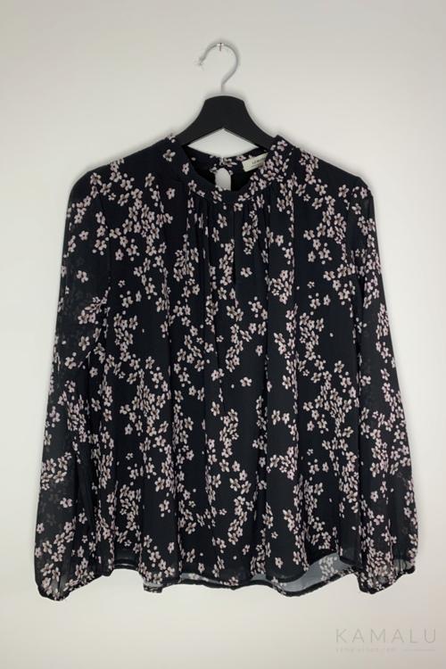 Schwarze Bluse mit Blumenmsuter