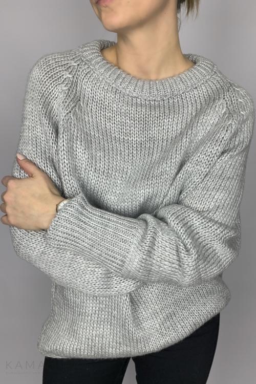 Sweter ze ściągaczem szary