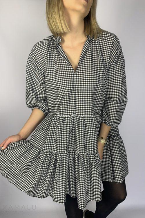 Kurzes Oversize-Kleid mit V-Ausschnitt