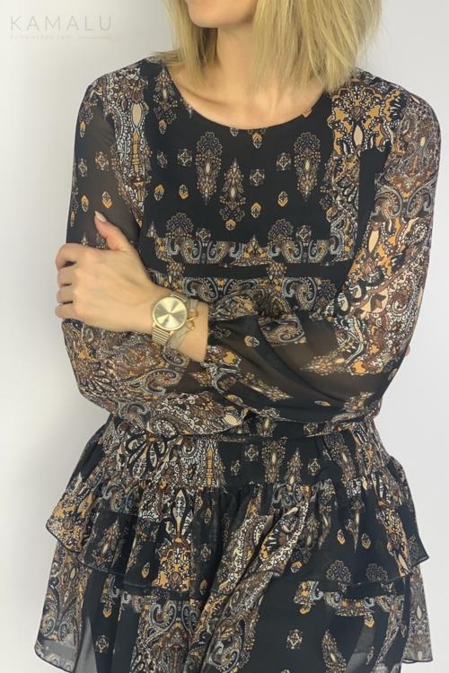 Sukienka z falbanami czarna z printem