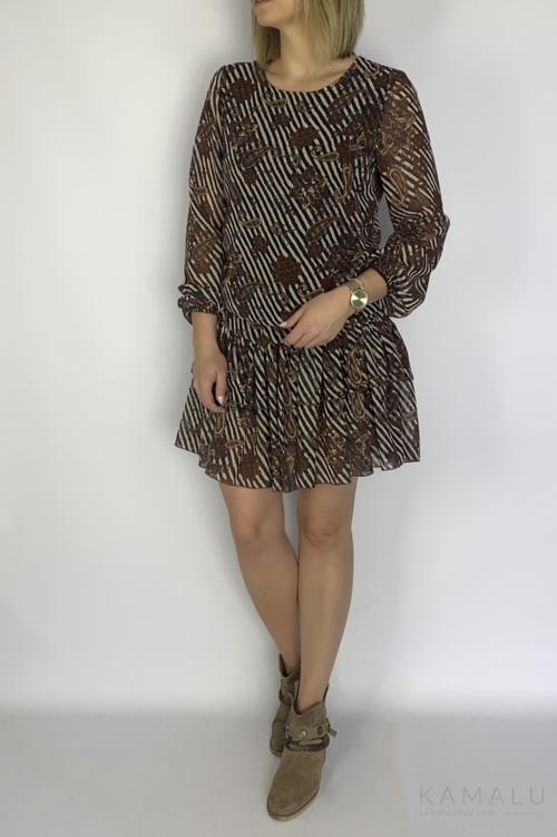 Sukienka z falbanami z brązowym printem