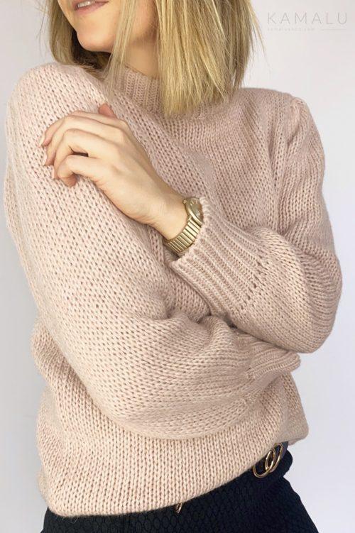 Sweter ze ściągaczami pudrowy róż