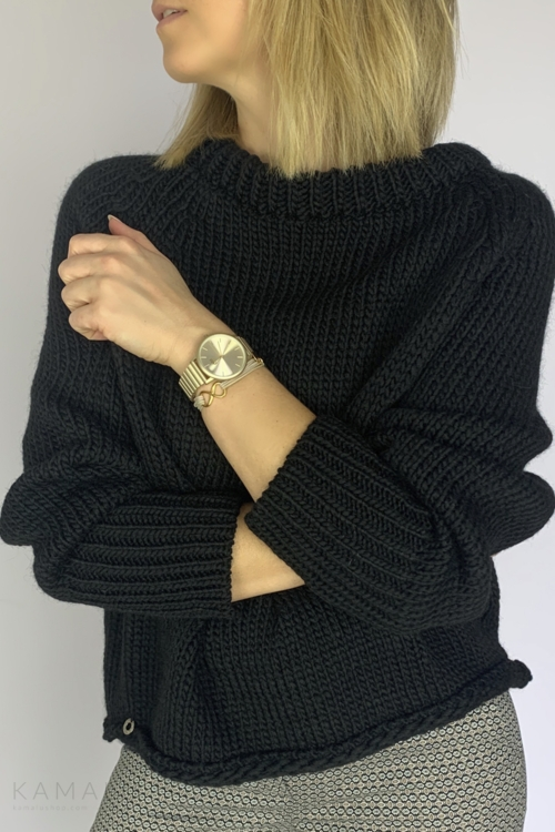 Sweter ze ściągaczem czarny