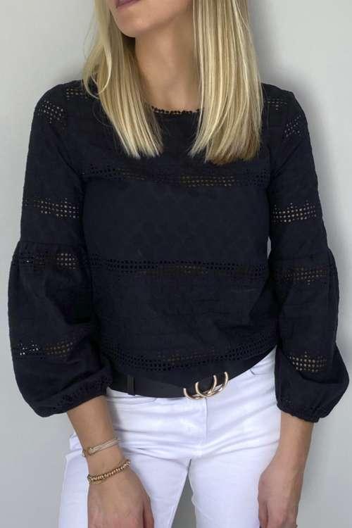 Bluzka ażurowa - czarna