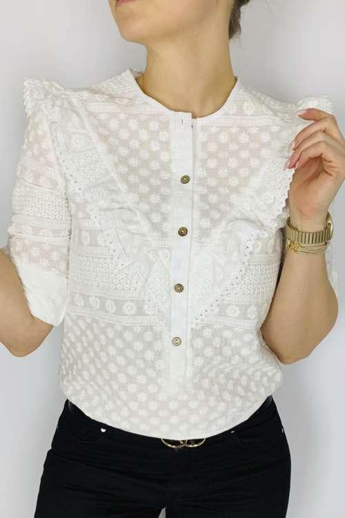 Bluzka ażurowa z falbanką V - biała
