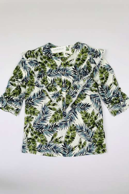 Bluse mit Volants und Pflanzenprint