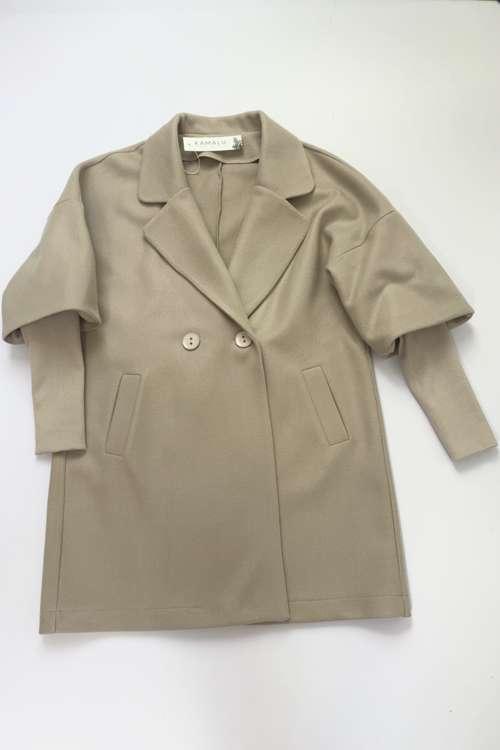 Beiger Mantel mit elastischen Ärmeln