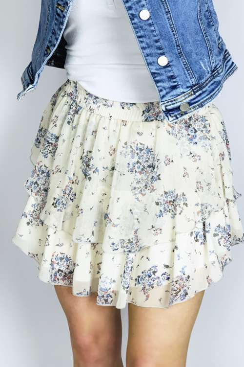 Spódnica z falbanami- niebieski print