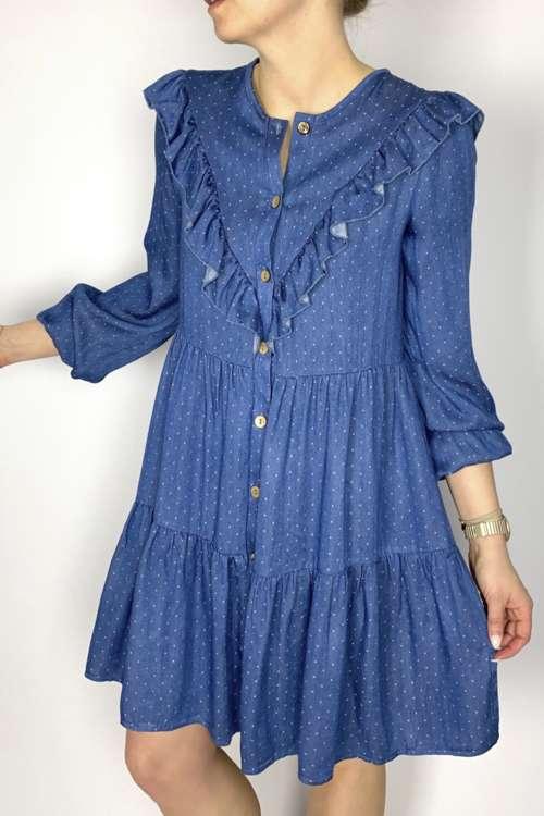 Kurzes, blaues Kleid mit Volants mit Punkten