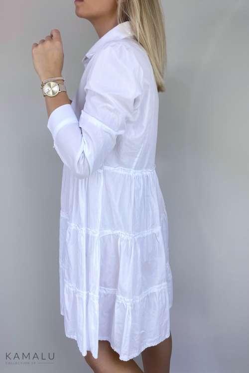 Sukienka bawełniana z falbaną - szmizjerka