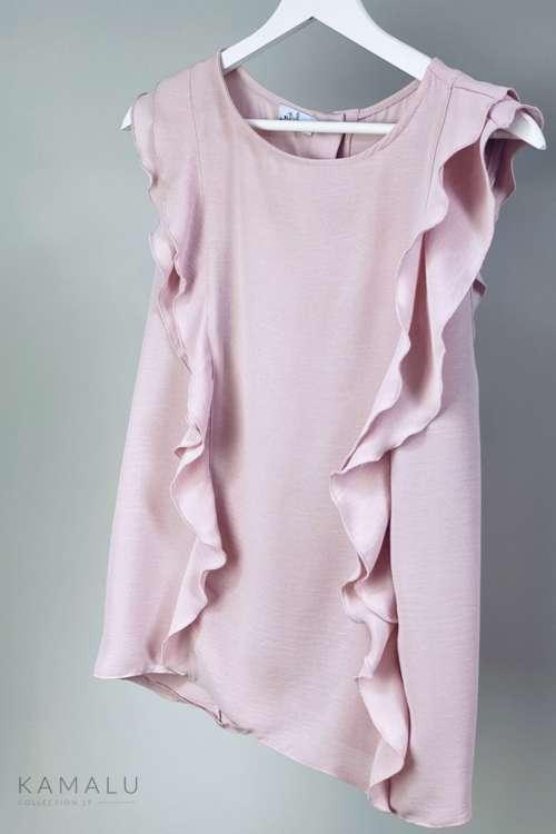Bluzka z falbankam - pudrowy róż
