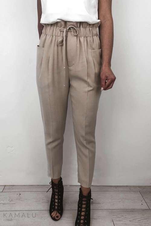 Spodnie Paperbag - beż