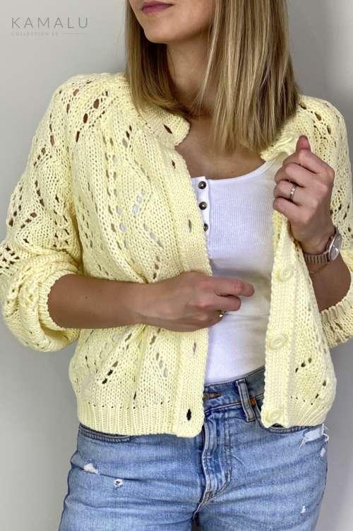Sweter ażurowy- żółty