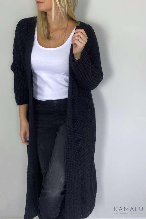 Długi wełniany kardigan - czarny