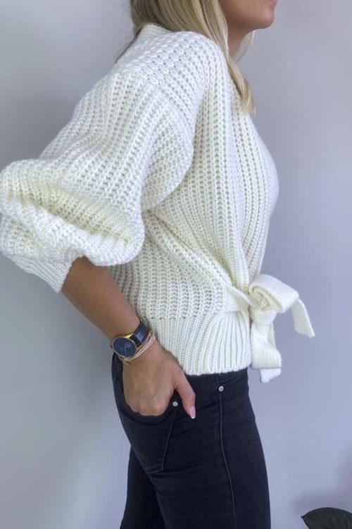 Sweter kopertowy-ekru