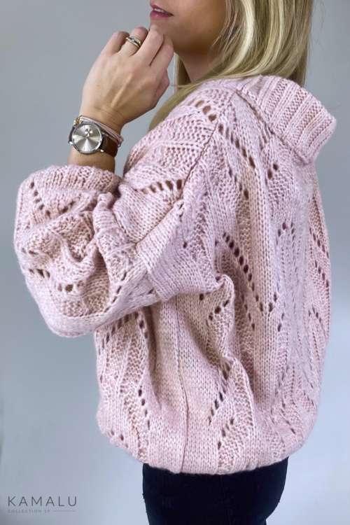 Sweter w ażurowy splot - róż
