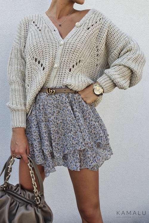 Sweter ze złotymi guzikami - beż
