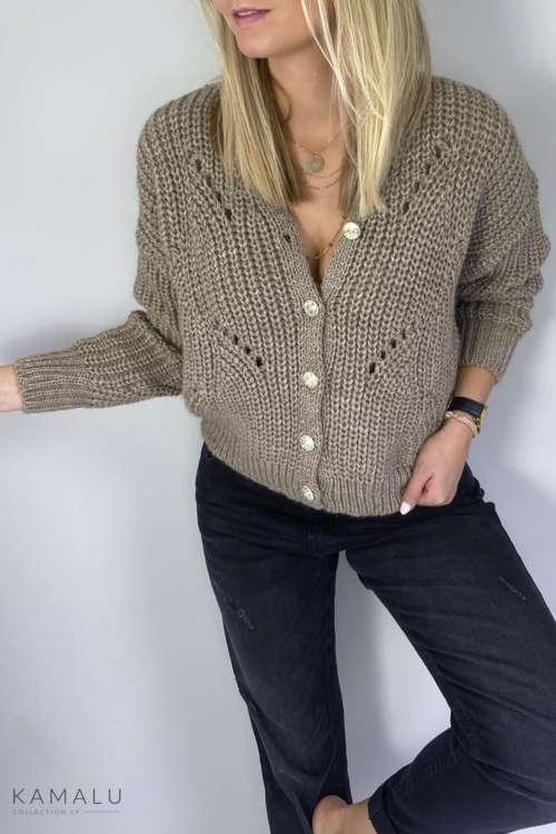 Sweter ze złotymi guzikami - brąz