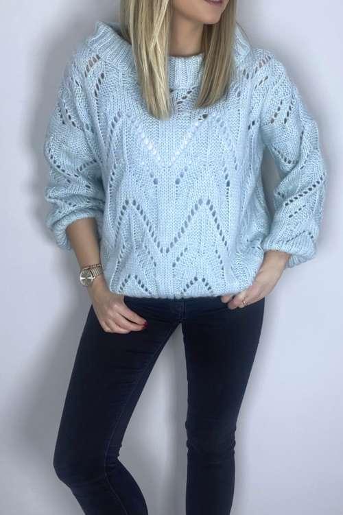 Sweter ażurowy - miętowy