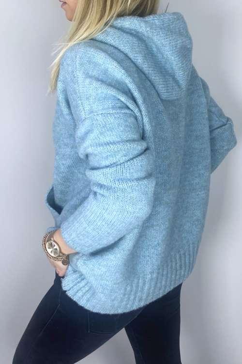 Sweter z kapturem-turkusowy